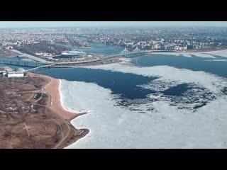Лед уходит из залива_таймлапс с высоты Лахта Центра