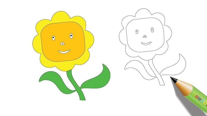 Smiling Sunflower Drawing Coloring Watch on Youtube - youtu.be/am3GgNmmkbU