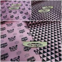 Футер 3х нитка петля Еноты/медведи и треугольники на розовом