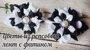 Цветы из репсовых лент с фатином Камелии из лент DIY
