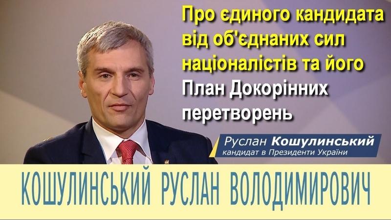 Руслан Кошулинський фільм про єдиного кандидата від обєднаних сил націоналістів та його план дій