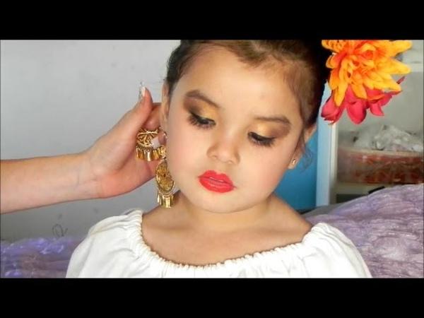 Maquillaje de Folklorico para Niñas (Dorado y Cafe)