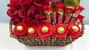 Canasta con floral y chocolates por menos de $20 dolares ( regalo para el día de las madres )
