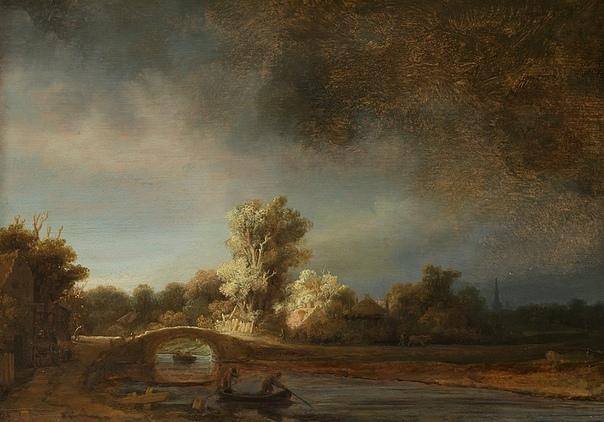 «История одного шедевра. «Каменный мост», Рембрандт 1638г. Доска, масло. Размер: 29,5 × 42,5 см. Рейксмюзеум, АмстердамРембрадту прекрасно удалось передать ощущение надвигающейся бури, ее и