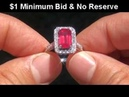 Estate Pigeon Blood Red Color Vintage Ruby Diamond Ring up For Auction