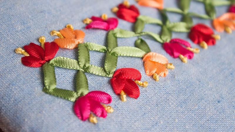 Bordado a mano puntada decorativa21fácil de hacerRibbon embroidery borderstitch decorativeDiy