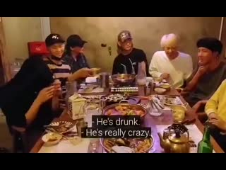 the amount of things happening in this video. - hoseoks drunk voice cracking - taehyungs shady glance - namjoon sipping the alch