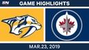 NHL Game Highlights Predators vs Jets March 23 2019