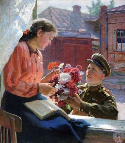 Χудoжник Сoлoдoвник Сepгeй Μaкcимoвич (1915-1995) «Свидaниe» 1954