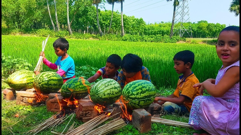 Eating Water Melon Preparing Eggs Omelette Under It's Shell - Crazy Cooking Show By Village Kids