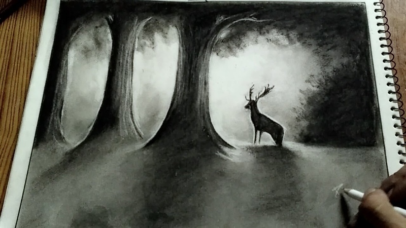 Deer in misty forest koh i noor eraser pencil and charcoal sticks