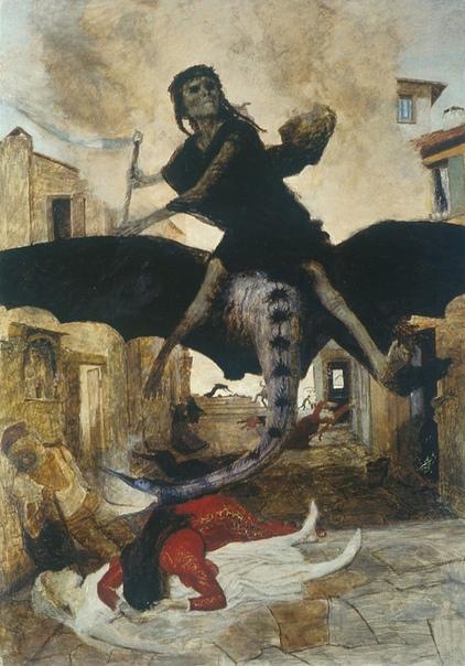 История одного шедевра. «Чума», Арнольд Бёклин 1898г. Тампера, дерево. Размер: 149,8х105,1 см. Базельский художественный музей, Базель Картина, объясняющая популярность ведьм и гонения на них. В