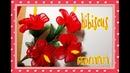 How to make Hibiscus flower by ployandpoom (ดอกชบาผ้าใยบัว)