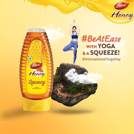"""Jacqueline Fernandez on Instagram: """"Always BeAtEase by starting your day right with Dabur Honey in warm water your favorite yoga pose (mine is t..."""
