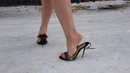 Nando muzi high heels sandals on snow, high heels dance on ice, slippery high heels scene 156