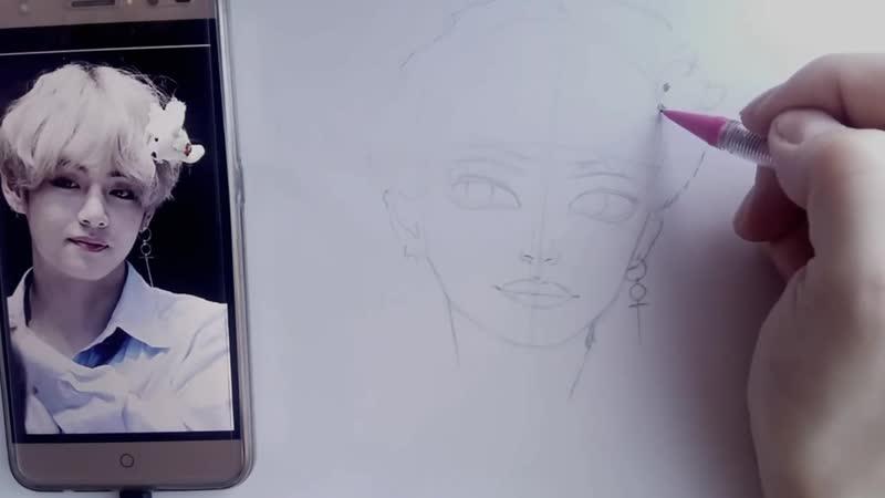 ✏Как нарисовать Тэхена из BTS❤_ 그리는 방법 김태형 _ How to draw Taehyunga from BTS