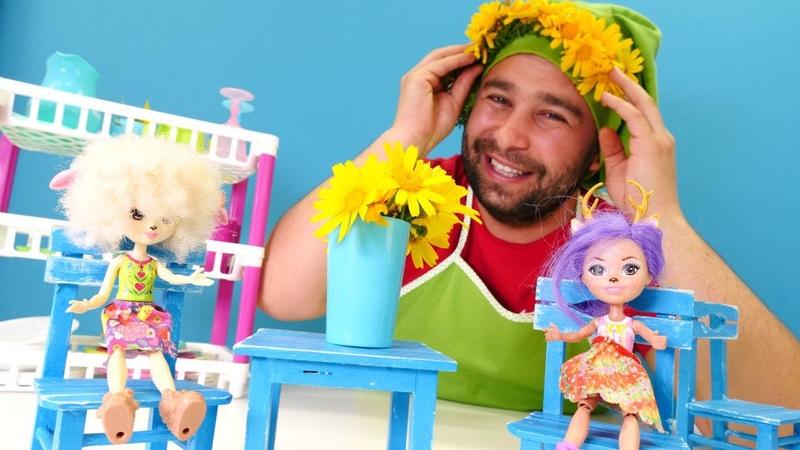 Anneler günü videosu. Canlı çiçeklerden taç yapıyoruz! Enchantimals oyuncakları!