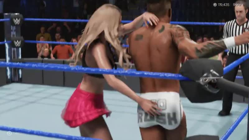 WWE 2k19 Stacy Keibler vs. Lio Rush foot choke CPU intergender match ryona
