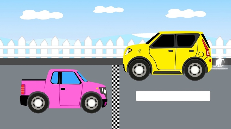 Yellow jeep vs pink pickup cartoons for kids