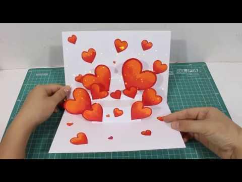 Làm thiệp 3d Trái tim từ giấy a4 | Cách làm thiệp 20/11 đơn giản và đẹp