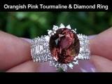 Rare Top Color Orangish Pink Tourmaline &amp VS Diamond Cocktail Ring Set In Solid 14K Gold