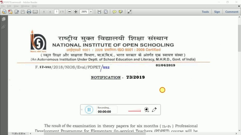 NIOS DLED BRIDGE COURSE PDPET PROGRAM RESULT WILL BE PUBLISHED ON 05 04 2019