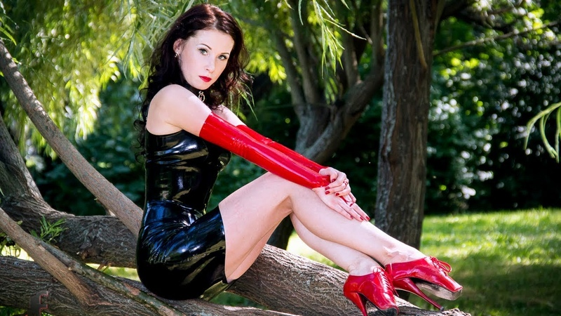 Beautiful Sexy Girls Wearing Latex and High heels in public