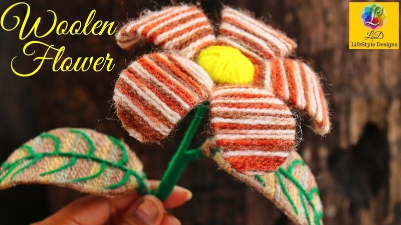 How to make Easy Woolen Flower step by step   Handmade woolen thread flower making idea - diy