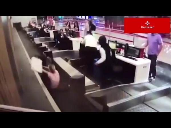İstanbul Havalimanında bagaj bandına giden kadın ❗️