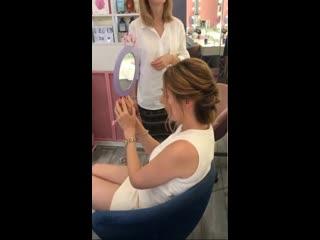 sesión de maquillaje de salón de belleza