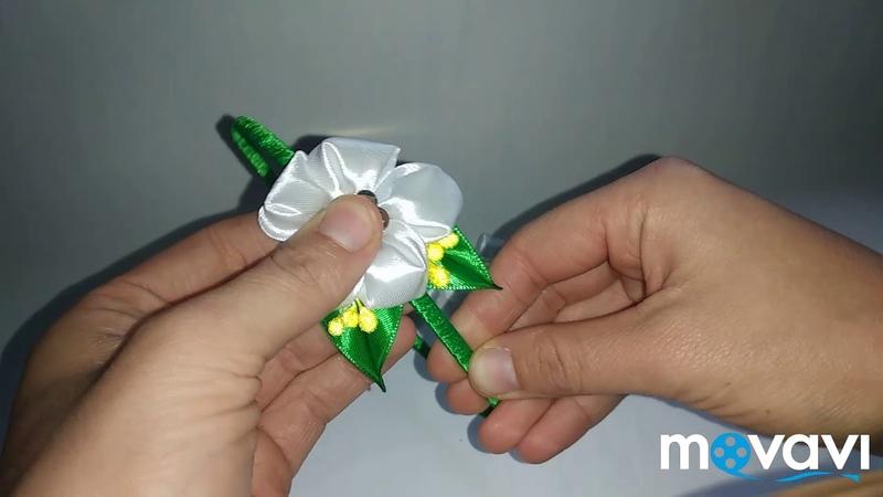 Обруч ободок мк білі квіти тичинки круглі пелюстки гострий листочок MK Тетяна і Марічка
