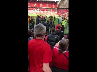 A fan shouts ole get him out directed at Paul Pogba. mufc - -