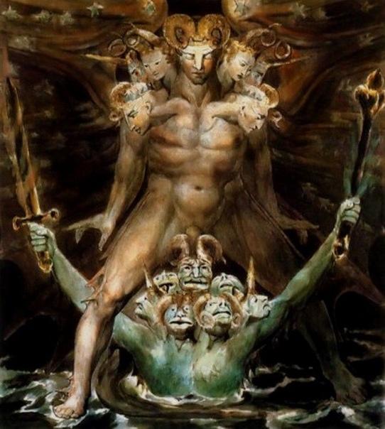 « одного шедевра» . «Великий красный дракон и чудовище из моря», Уильям Блейк 1805г. Акварель, графит, чернила, бумага, перо. Размер: 43.7×34.8 см. Бруклинский музей, Бруклин Еще два названия,