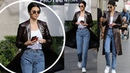 Kendall Jenner cuts a casual chic figure in jeans and long leather coat as she shops in LA