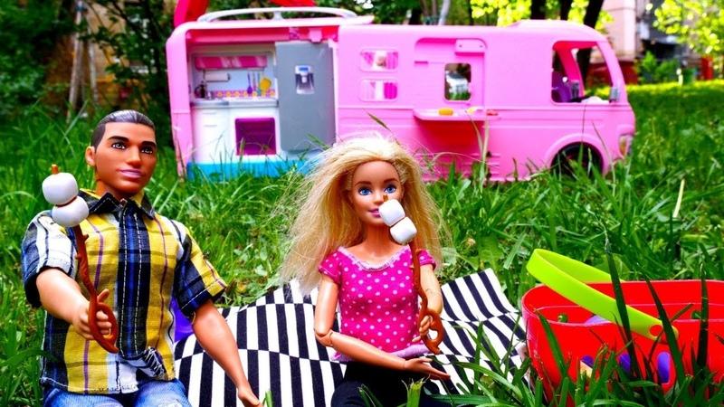 Мультики с куклами - Барби и Кен отдыхают на природе. Играем с Барби
