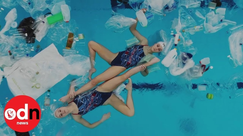 Mesmerising synchronised swimmers perform in plastic littered pool