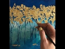 Easy Golden Trees Painting Demonstration Acrylic Technique on canvas by Julia Kotenko