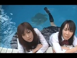 These Two Great Friends With Their Japaneses Sailor Uniforms, Playing in the Pool