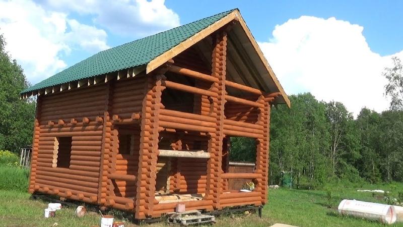 Сруб Дома Бани 6.0х8.0м. полтора этажа с крышей Бор . Цена в СПб 400.000 руб.