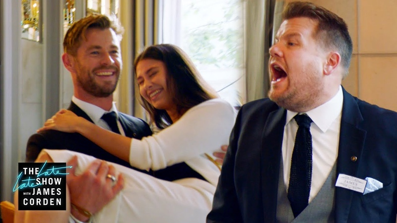 Chris Hemsworth v. James Corden - Battle of the Waiters - LateLateLondon