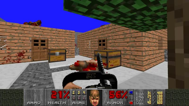 Елена-старшая играет в Doom 2 на какой-то карте часть 1
