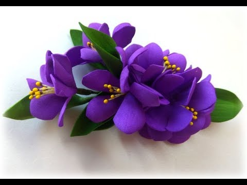 Цветы из фоамирана для начинающих Заколка с мелкими цветами