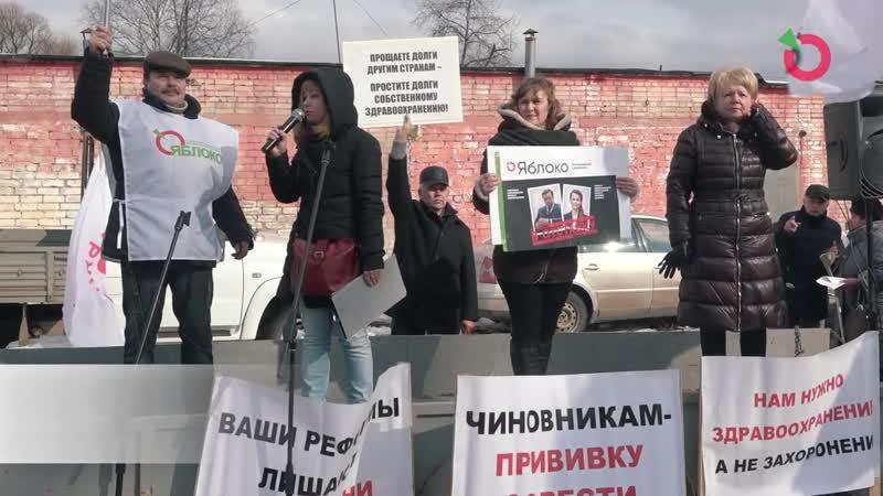 Митинг «Яблока» в Окуловке против оптимизации здравоохранения