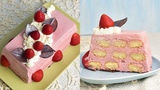 STRAWBERRY MOUSSE ICEBOX CAKE with CHOCOLATE LEAVES