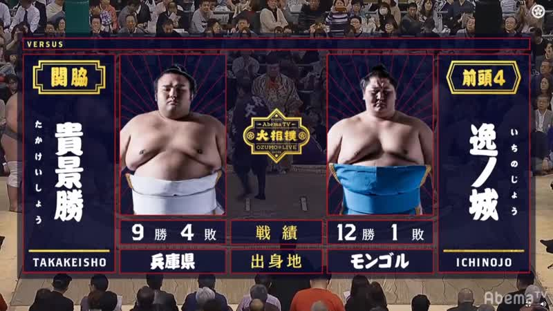 Takakeisho vs Ichinojo Haru 2019 Makuuchi Day 14