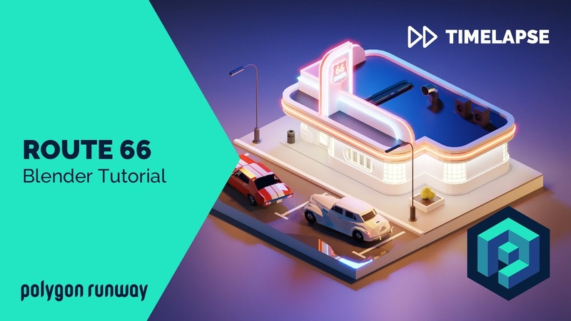 Route 66 - Blender 2.8 Lowpoly Isometric Modeling and Rendering Tutorial