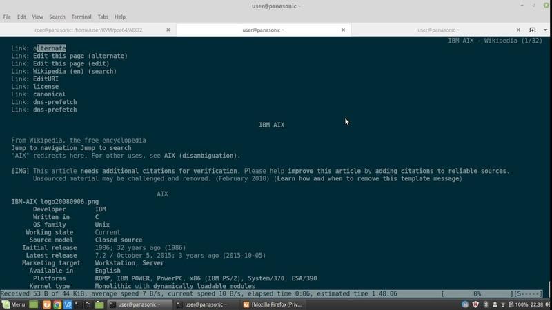 AIX 7.2 TL3SP1 qemu-system-ppc64 on x86_64 Linux part 2