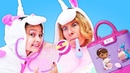Pretend play kids show: Baby unicorn takes care of Mom
