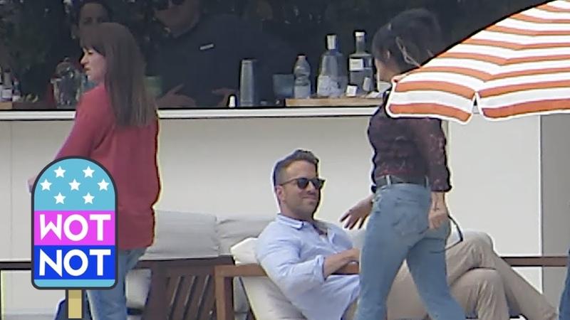 Ryan Reynolds Salma Hayek Laughing On Set Of Hitmans Wifes Bodyguard