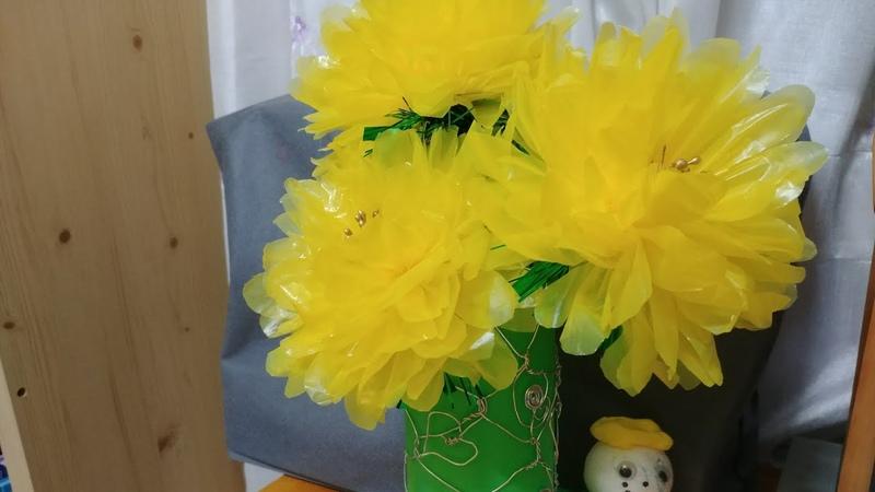 Flores Amarillas de bolsas de plástico Yellow flowers made of plastic bags 비닐 봉지로 만든 예쁜 노란색 꽃